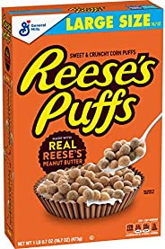 Reese's Peanut Butter Puffs, Breakfast Cereal, Large Size, 16.