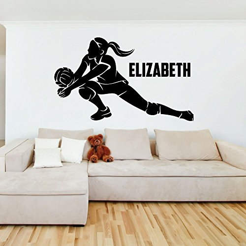 (Custom Girls Name Volleyball Slide. -0278- Personalized Girls Volleyball Wall Decal - Volleyball Theme Wall Decal - Dig)