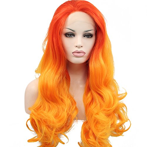 Ebingoo Orange Ombre Wigs for Women Silk Wavy Hair Synthetic Lace Front Wig 2 Tones Heat Resistant Fiber for Cosplay (22 inches)