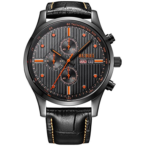 Quartz Sapphire Mens (BUREI Men's Day Date Multifunction Chronograph Wrist Watches Sapphire Quartz with Black Dial Metal Band (Orange))