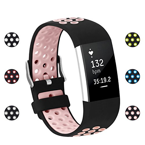 POY Replacement Bands Compatible for Fitbit Charge 2, Adjustable Breathable Wristbands with Air Holes Straps, Large Pink