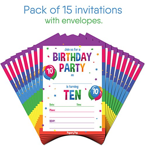 10th-Tenth-Birthday-Party-Invitations-With-Envelopes-15-Count-10-Ten-Year-Old-Kid-Anniversary-Celebration-Cards