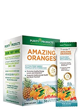 Amazing Oranges 30 Grab and Go Sticks Power Packed w Vitamin C, Vitamin D, Calcium, Magnesium, Potassium, Fiber Electrolytes from Purity Products
