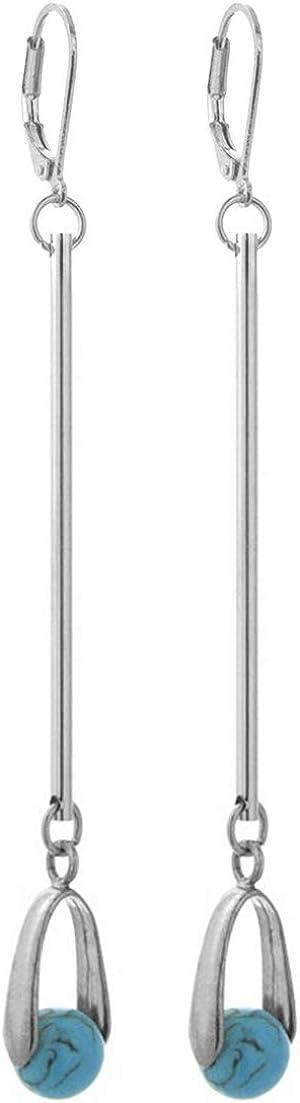 2LIVEfor - Pendientes largos de piedra natural, perlas, gotas, color negro, azul, verde, rosa, pendientes largos con forma de gota, plateados, joyas naturales modernas