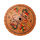 RaanPahMuang Thai Stained Wood and Oil Paper Umbrella Dragon Rooster Fighting