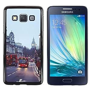Be Good Phone Accessory // Dura Cáscara cubierta Protectora Caso Carcasa Funda de Protección para Samsung Galaxy A3 SM-A300 // Bus Street England City