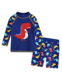 SolwDa Swimsuit Kids Long Sleeve 3D Dinosaur Cartoon Beach Swimwear Bathing Set Clothes Tops with Shorts Two Piece