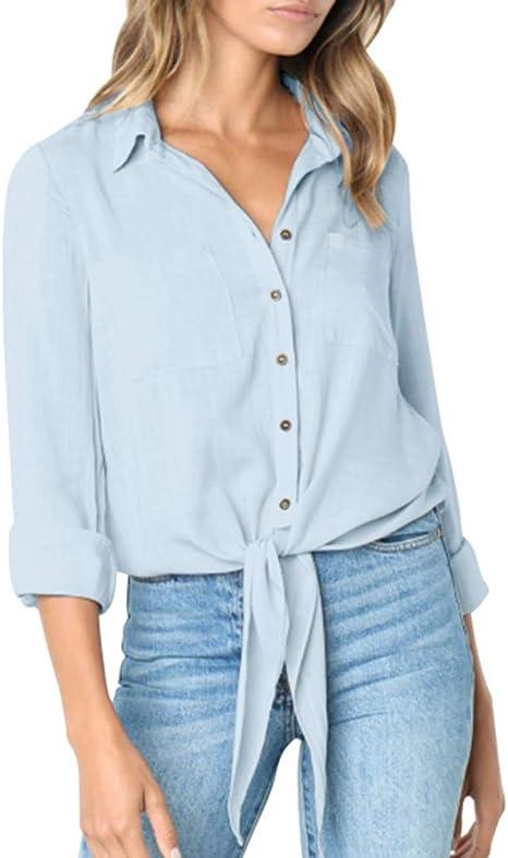 Cegduyi_Tops de Mujer Casual Solid Crushed Manga Larga con Botones Vendaje Camisa de algodón Lino Blusa Blusa Talla Plus, Medium, Azul: Amazon.es: Deportes y aire libre