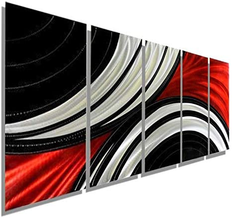 Huge Contemporary Abstract Red, Black and Silver Metal Wall Plaque Painting – Massive Abstract Modern Metallic Home Decor Wall Art Sculpture – Feverish Perception XL By Jon Allen
