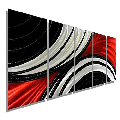 Contemporary Abstract Red, Black and Silver Metal Wall Plaque Painting - Abstract Modern Metallic Home Decor Wall Art Sculpture - Feverish Perception By Jon Allen ()