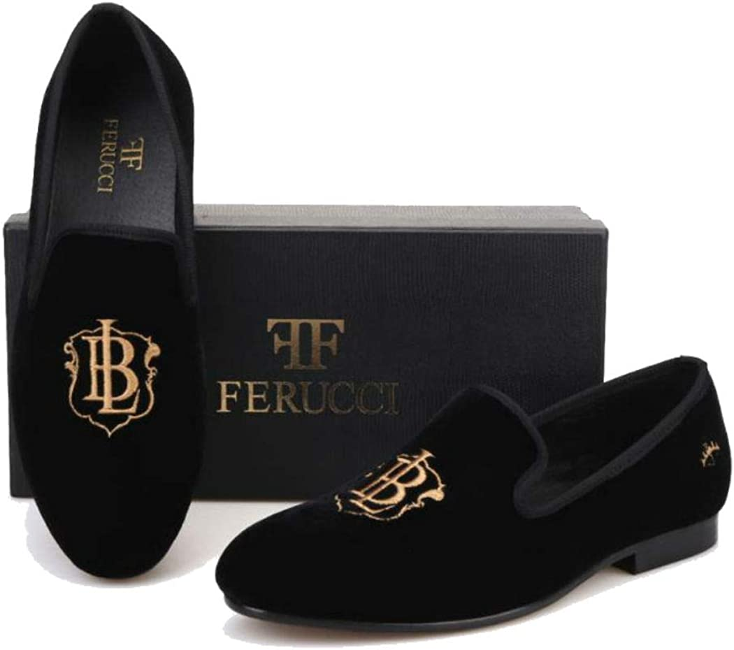 FERUCCI Handmade Men Black Velvet with Embroidered Bachelor Life Slippers Loafers Flats BL