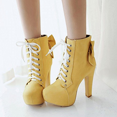 Aisun Heels up Boots Chunky Bow Yellow Ankle Lace Graceful Platform Booties High Women's Agqr8xA