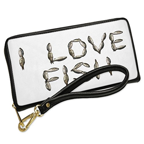 Wallet Clutch I Love Fish Fish Fishing with Removable Wristlet Strap Neonblond by NEONBLOND