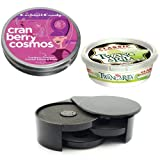 Cocktail Salt and Sugar Glass Rimmer Starter Kit Includes Black Rimmer, 7 Ounce Tub of Twang Margarita Salt and 4 Ounce Tin of Cocktail Candy Cranberry Cosmos Rimming Sugar