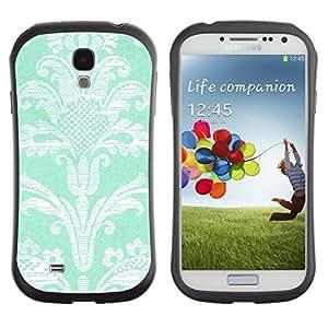 """Pulsar iFace Series Tpu silicona Carcasa Funda Case para SAMSUNG Galaxy S4 IV / i9500 / i9515 / i9505G / SGH-i337 , Modelo de flores de la turquesa del papel pintado de la vendimia"""""""
