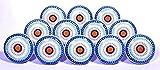 Glitknob 10 Knobs Flat Blue Wheel Hand Painted Ceramic Knobs Cabinet Drawer Pull