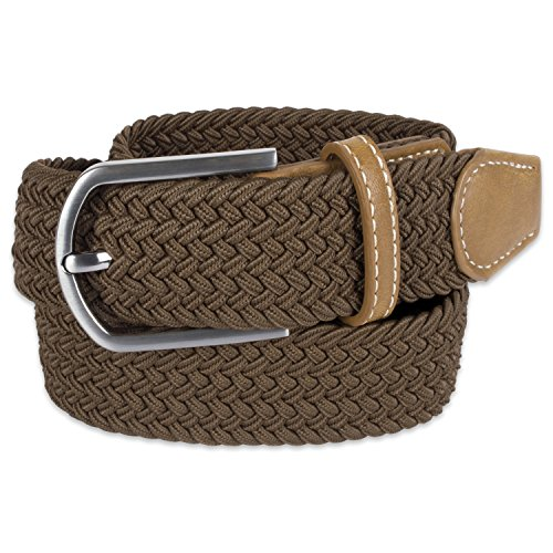 E-Living Store Men's 32mm Woven Expandable Braided Stretch Belts, (Available in Multiple Colors & Sizes), Brown, Large (Waist Size - For Store Men