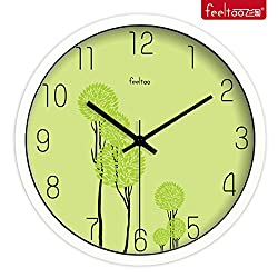 Jedfild The living room Super silenced wall clock green creative Korean stylish and simple modern Quartz watches, 14 inch, Metallic White Box