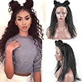 Sunwell 2016 New Fashion Brazilian Virgin Hair Lace Front Wig Jerry Curly Invisible Part for Black Women 20 Inch 130 Density Natural Color