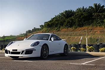 Porsche White Left Front 911 Carrera 4S HD Poster Super Car 48 X 32 Inch Print