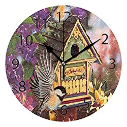 YATELI Wall Clock Shelf Round 10 Inch Diameter Birdhouse Flowers Summer Silent Decorative for Home Office Bedroom
