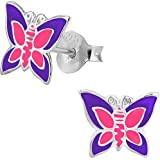 Hypoallergenic Sterling Silver Pink & Purple Butterfly Stud Earrings for Kids (Nickel Free)