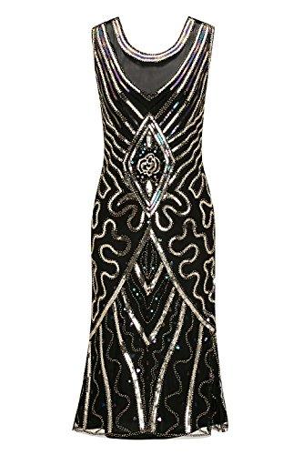 Metme U Neck 1920s Gatsby Theme Flapper Dress Evening Dress Prom Dress Cocktail Dress for Women