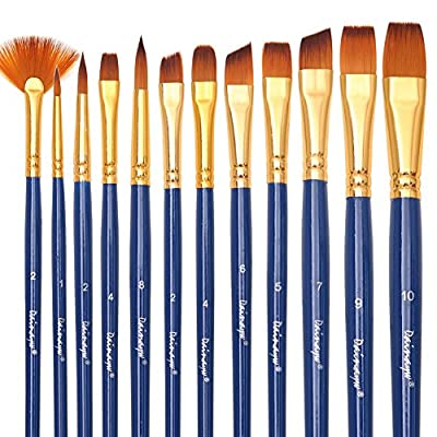 Dainayw Art Paint Brushes Set - 12 Pieces - Fabric Paint Brush for Art Painting, Face Painting - Acrylic Paint, Watercolor, Oil, - Nylon Hair?