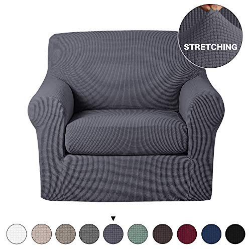 Turquoize 2 Piece Sofa Slipcover Stretch Chair Slipcovers with Elastic Bottom Sofa Chair Furniture Protector Jacquard Stretch Couch Cover High Spandex Chair Covers for Living Room (Chair, Grey) (2 Chair Piece Slipcovers)