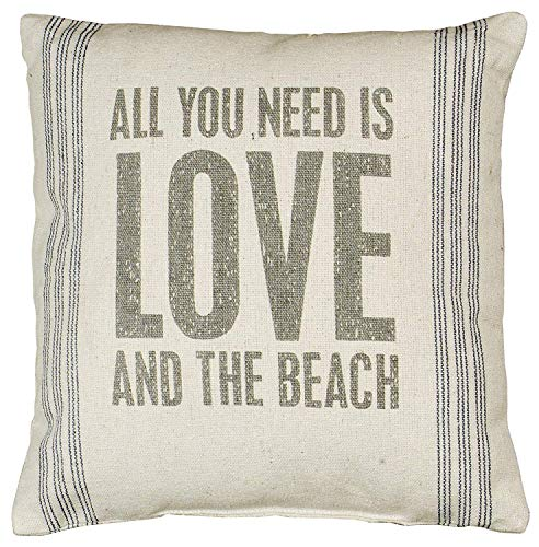 Acelive 16 X 16 Inches Vintage All You Need is Love and The Beach Throw Pillow Case Decorative Cushion Cover for Sofa Home Office Decorative
