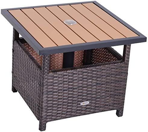 Outsunny 22″ Steel PE Rattan Wicker Outdoor Patio Accent Table