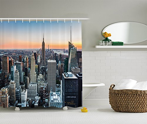 New York shower Curtain by Ambesonne, New York City Manhattan Skyline Cityscape Contemporary Artistic Sunset Landscape Rose Quartz, Polyester Fabric Bathroom Shower Curtain Set with - 45th Nyc 5th And