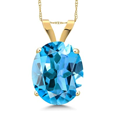 b143e7f1b3139c Amazon.com: Gem Stone King 14K Yellow Gold Swiss Blue Topaz Pendant ...