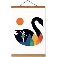 Afbeelding poster kunstwerk canvas hanger moderne magnetische DIY houten fotolijst voor decoratie wand teakhout