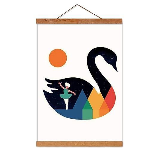 Marco de Fotos de Madera Magnética Cartel de Madera Natural DIY Picture Poster Obra de Arte para La Decoración del Hogar Pared de Teca, Longitud 21 ...