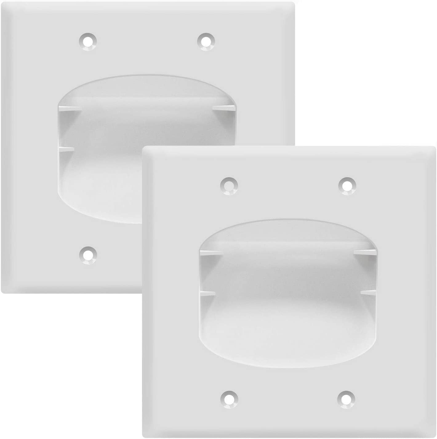 TOPGREENER Recessed Low Voltage Cable Wall Plate for Home Theaters, Size 2-Gang 4.50