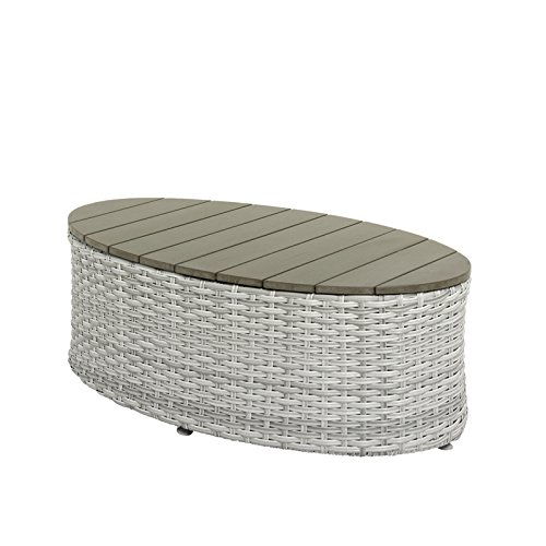 CORLIVING PCL-201-T Brisbane Patio Coffee Table, Blend Grey Weave (Outdoor Brisbane Tables)
