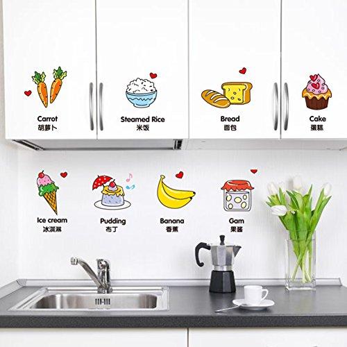 FHDGDVCGDGC Cute Cartoon Refrigerator Sticker,PVC Tile Glass Sticker Kitchen Cabinet Door Children's Room Wall Decoration Wall Sticker Food Bread Wall Sticker