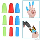 Protective Finger Caps/Silicone Finger Protectors - 9-Pack - Prevents Burnt Fingers While Crafting with Glue Gun, Hot Wax, Soldering Iron - Also Protects When Sewing, Arranging Roses, etc.