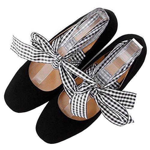AIYOUMEI Damen Chunky Heel Pumps mit 5cm Absatz Blockabsatz High Heels Schuhe mit Bandagen Schwarz