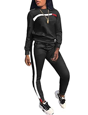 89cd1fc7eb8e6 Stripe Patchwork Long Sleeve Sweatshirt Tops and Long Sweatpants Two Piece  Tracksuit for Junior Black S