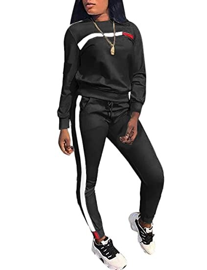 d7b315d4c5 KANSOON Women Stripe Patchwork Two Piece Sweatsuit Round Neck Pullover and  Skinny Long Pants
