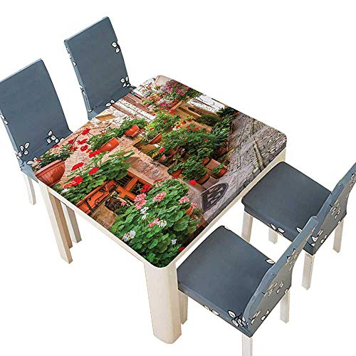 PINAFORE Polyester Tablecloth Street View A Small Renaissance Town Floral Porches Rock Houses Easy Care Spillproof 53 x 53 INCH (Elastic Edge)