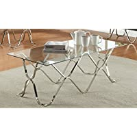 Furniture of America Mirella Contemporary Coffee Table, Chrome