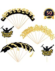 DaBuLiu 50 Pcs 2018 Graduation Cupcake Toppers - (Contains gold glitter powder),Graduation Party Mini Cake Decorations for Graduation Party.