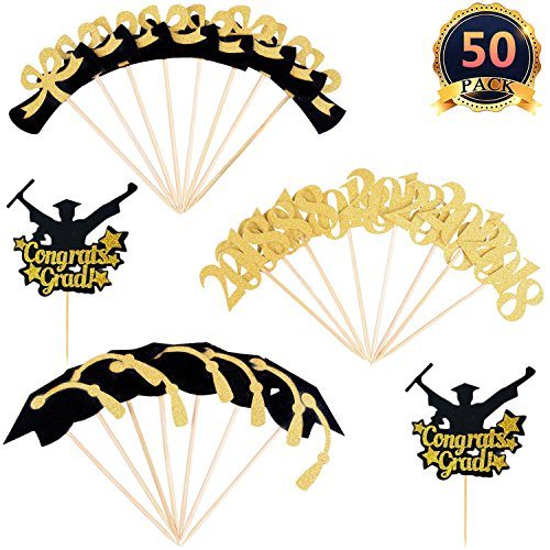DaBuLiu 50 Pcs 2018 Graduation Cupcake Toppers - (Contains gold glitter powder),Graduation Party Mini Cake Decorations for Graduation Party. by DaBuLiu