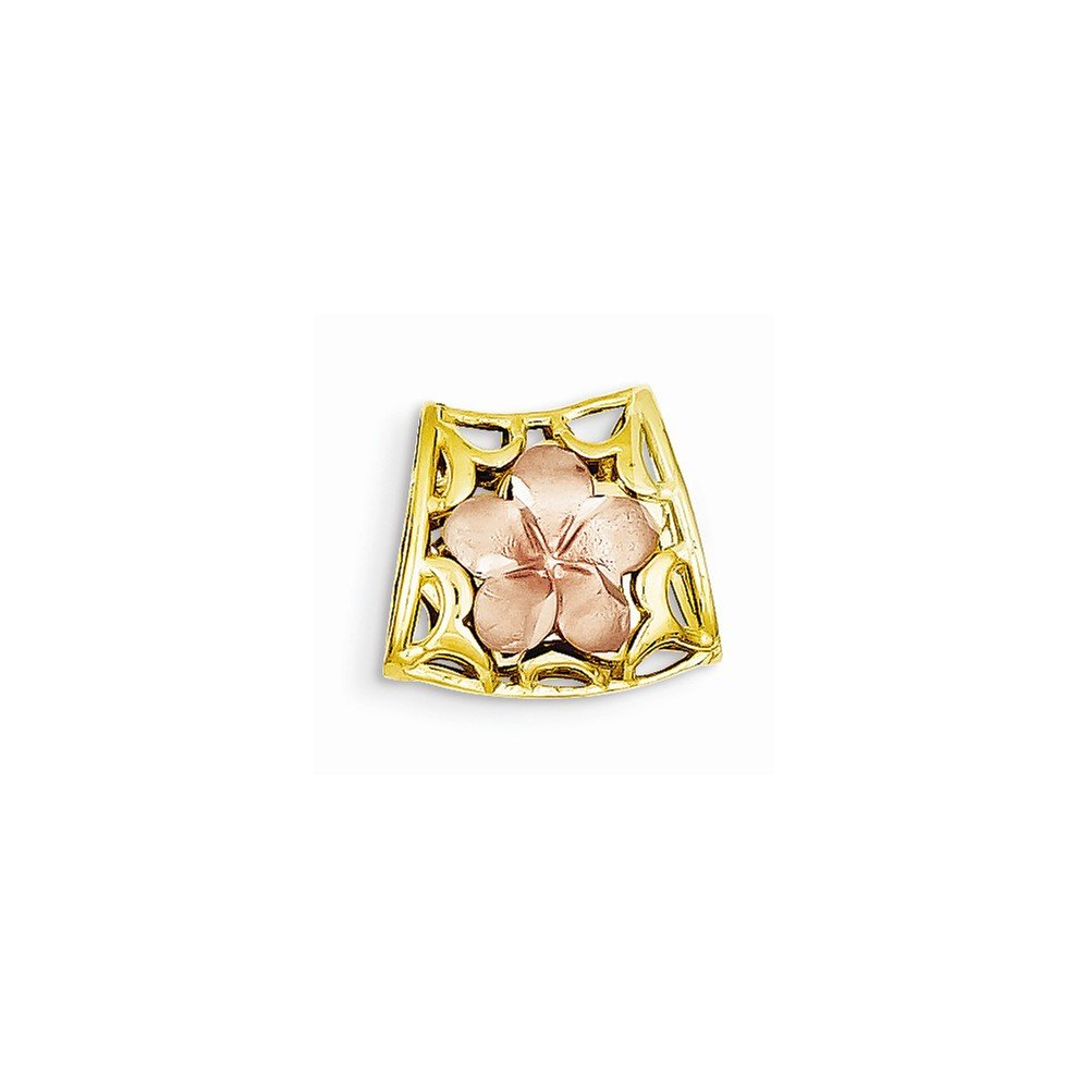 14k Tri color Reversible Plumeria Slide K4825<BR>Polished | 14K Tri-color | Reversible | Rose gold | Fits up to 4mm | Fits up to 2mm