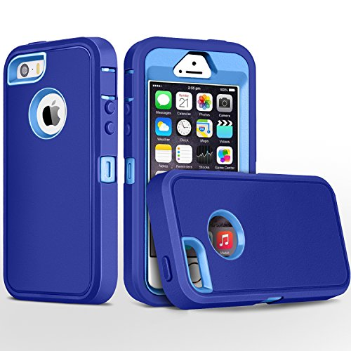 iPhone 5S Case,iPhone SE Case,Fogeek Heavy Duty PC and TPU Combo Protective Defender Body Armor Case Compatible for iPhone 5S,iPhone SE and iPhone 5 with Fingerprint Function (Deep Blue/Light Blue)