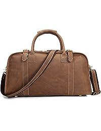"Men's Genuine Leather Travel Duffel Bag 19"" Brown Cowhide Luggage Handbag Gym Bag"