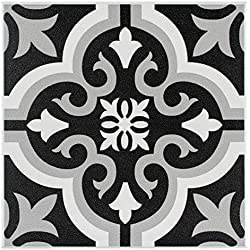 SomerTile FTC8BRCL Bracara Ceramic Floor and Wall Tile, 7.75 x 7.75-Inches, Black/Grey/White, Pack of 25